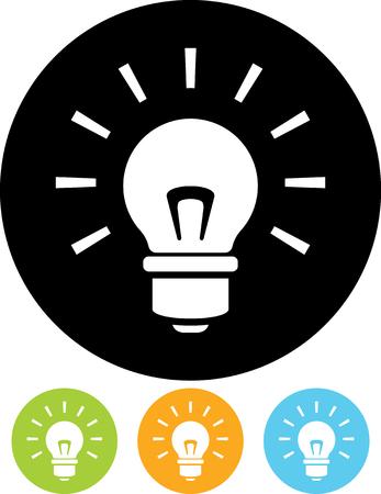 Shining lightbulb - Vector icon Stock Illustratie