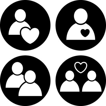 Couples and people in love vector icons