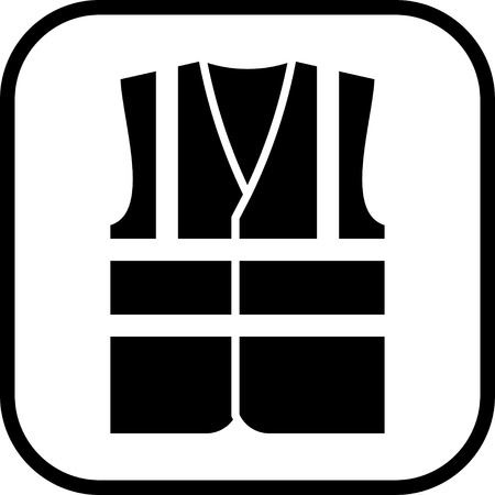 Warning safety vest vector icon