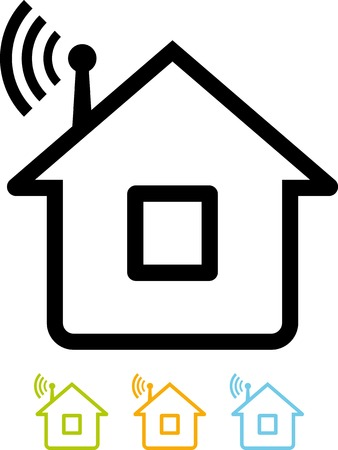 Vector icon isolated - Home connected to wifi net. Wi-Fi spot