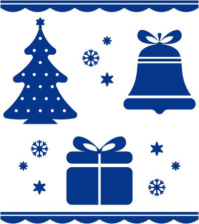 Christmas tree merry Xmas retro icons