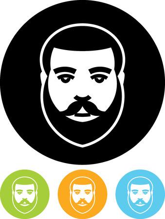 分離したひげを生やした男顔ベクトル アイコン