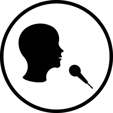 Man with microphone vector icon