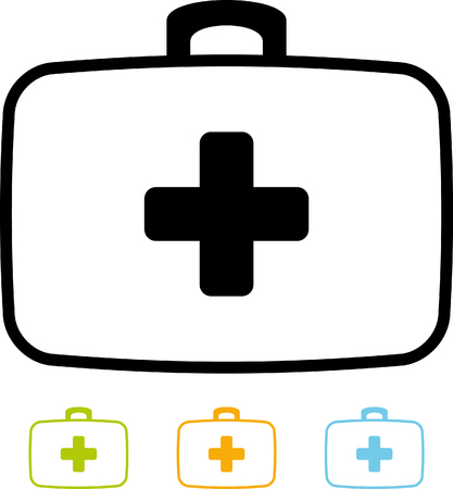 First aid kit bag vector icon
