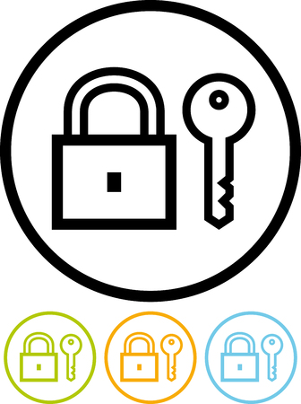 Padlock and key vector icon