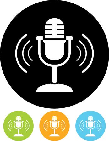 Retro microphone - Vector icon isolated Illustration