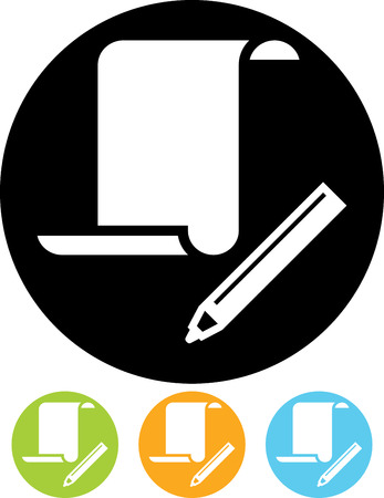 Paper scroll document and pen vector icon