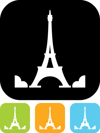 Eiffel Tower in Paris, France - Vector icon isolated
