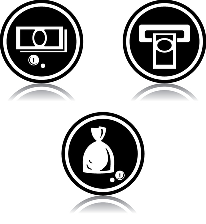 Cash geld geldautomaat - Vector iconen