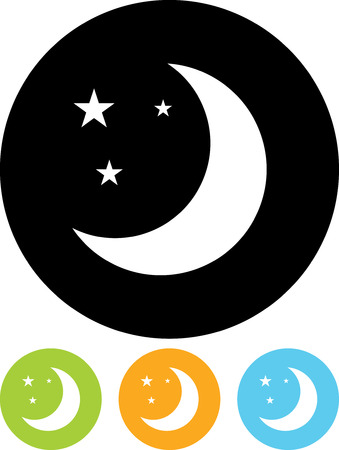Moon and stars at night - Vector icon isolated