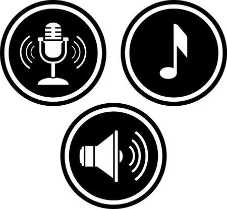 Music and sound vector icons. Mic, note, loudspeaker