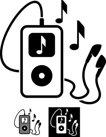 음악 벡터 일러스트 레이 션을 연주하는 이어폰과 MP3 플레이어