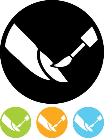 Nagel polijsten op het salon - geïsoleerd Vector pictogram
