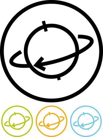地球軌道の分離ベクトル アイコン  イラスト・ベクター素材
