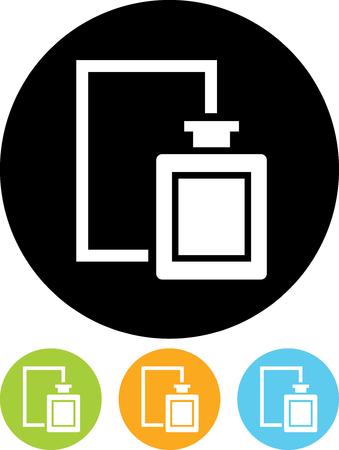 향수 병 및 상자 - 절연 벡터 아이콘 일러스트