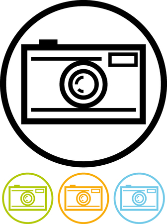 Vector icon isolated on white - Photographic camera Ilustracja