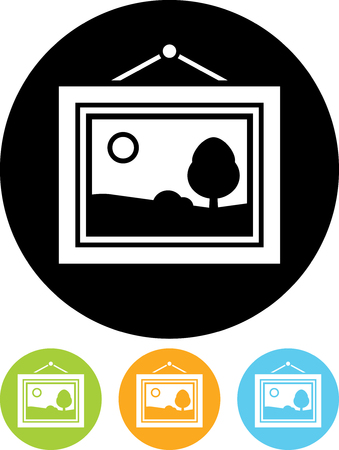 Framed picture - Vector icon isolated