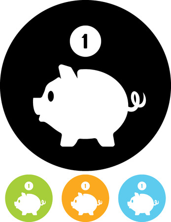 Piggy bank coin savings vector icon Banco de Imagens - 52955192
