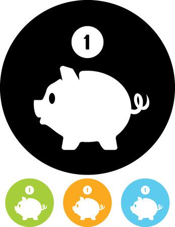 Piggy bank coin savings vector icon