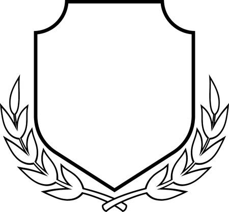 manteau de Vecteur de bras - Bouclier et Couronne de laurier isolé