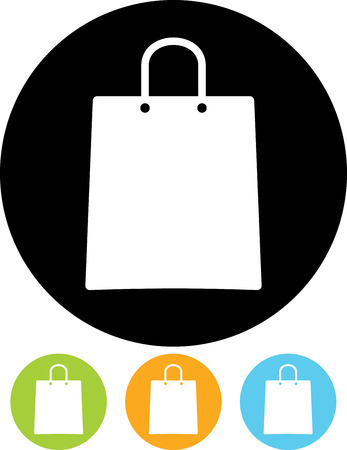 Shopping paper bag vector icon