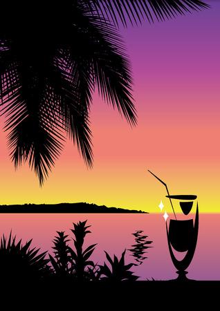 Tropical paradise background. Beach scene Vektoros illusztráció