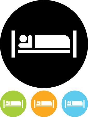 모텔 - 절연 벡터 아이콘에서 침대에서 자 고하는 사람