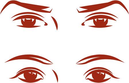 男性と女性の目。ベクトル イラスト