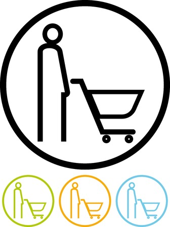 Vector icon isolated on white -  Man with shopping cart at supermarket Illustration