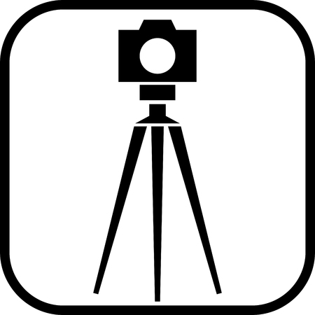 Tripod photo camera vector icon