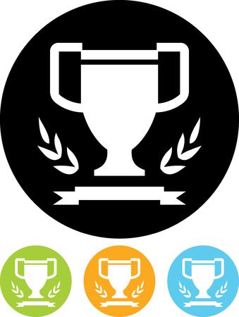 優勝カップ、月桂冠とリボン - 分離ベクトル アイコン  イラスト・ベクター素材