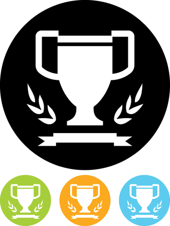 Winner's cup, laurel wreath and ribbon - Vector icon isolated