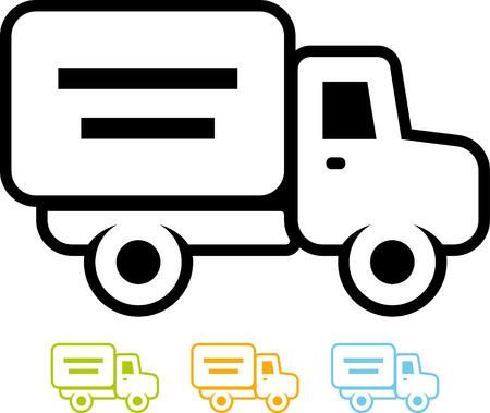 Verzending bestelwagen - Vector pictogram op wit wordt geïsoleerd Stockfoto - 52955575