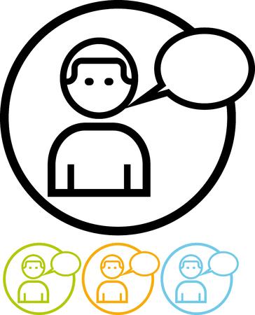 Vector icon isolated on white - Speaking cartoon man