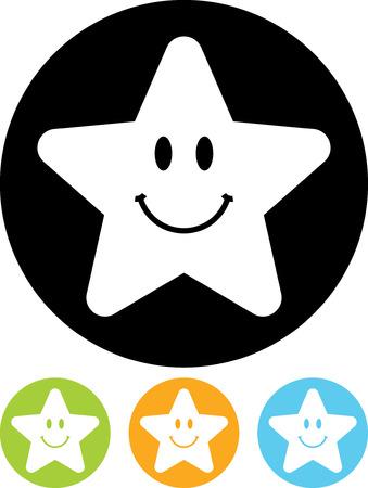 Gelukkig ster - Eenvoudige vector pictogram op een witte