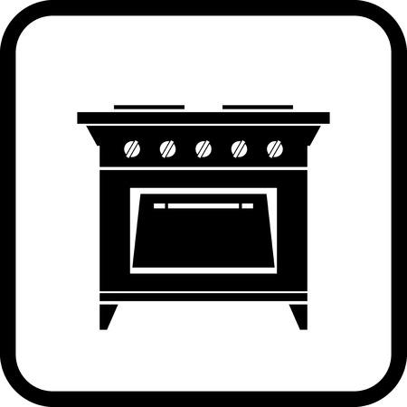 ガスストーブ - 白で隔離ベクトル アイコン  イラスト・ベクター素材