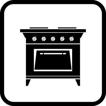 Gas stove - Vector icon isolated on white