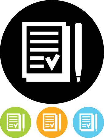 Tekenen contract - Vector pictogram geïsoleerde Stock Illustratie