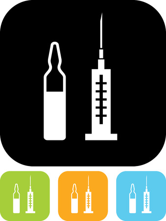 Syringe with vaccine injection vector icon Çizim