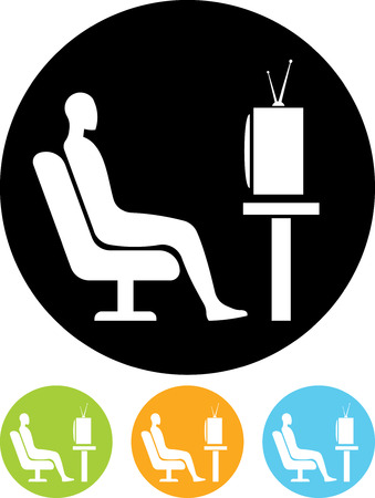 Man watching TV - Vector icon isolated