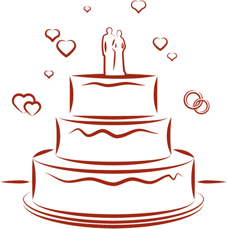 Big wedding cake with toppers Vector Illusztráció