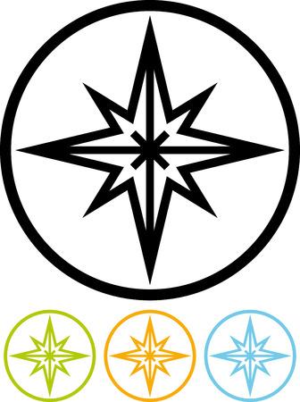 Windroos teken - Vector pictogram op wit wordt geïsoleerd Stock Illustratie