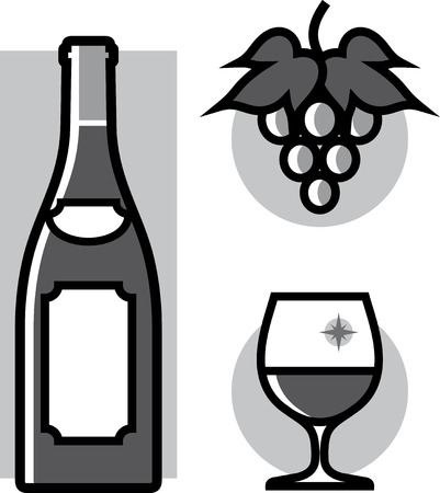 Wine glass grape  Vector Illustration