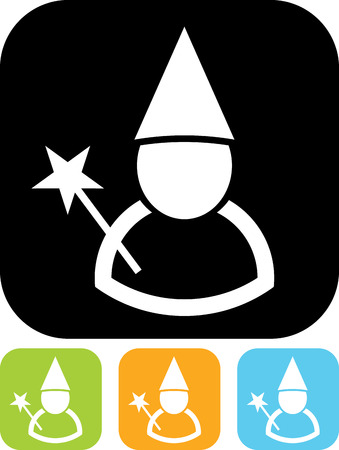 Wizard with magic wand vector icon