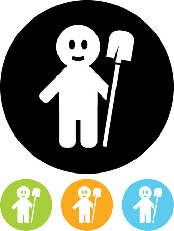 Man with shovel - Vector icon