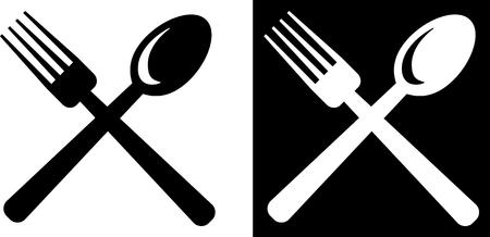 Forchetta e cucchiaio - icona di vettore isolata su bianco Archivio Fotografico - 52956978