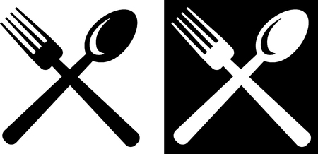 Fork and spoon - Vector icon isolated on white