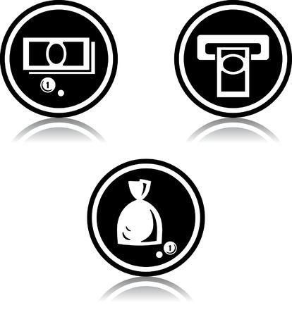 Cash geld atm - Vector iconen
