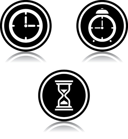 Vector time countdown alarm clock watch clock hourglass icons Ilustração