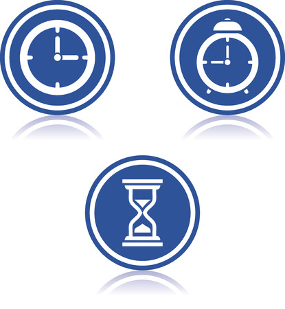 Vector time countdown alarm clock watch clock hourglass icons Illustration